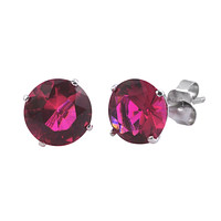 Ruby Studs CZ Earrings July Birthstone BASKET Set Cubic Zirconia .925 Silver