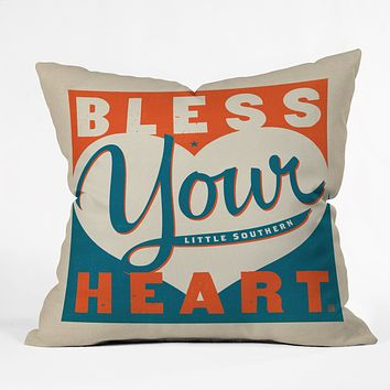 Anderson Design Group Bless Your Heart Outdoor Throw Pillow
