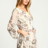 Ivory Sweet Rose Chiffon Bell Romper - LoveCulture