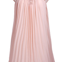 Light Pink Short Sleeve Lace Pleated Chiffon Dress - Sheinside.com