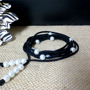 6 Wrap Boho Black Suede Leather White Pearl Multi Wrap Bracelet, Lariat Choker Necklace, Anklet - Pick COLOR / LENGTH Usa Seller Chic, gift