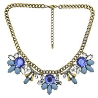 """Women's Bib Necklace with Stones - Blue/Clear/Gold (17.5"""")"""