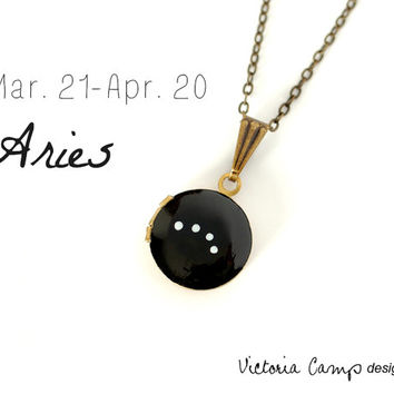 Aries Zodiac Constellation Necklace on Vintage Tiny Locket - Hand Painted - March April Birthday, Aries the Ram