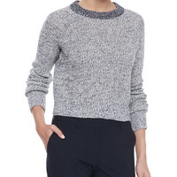 Brombly Cropped Knit Sweater, Size: