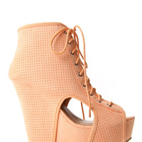 Lace Up Peep Toe Cut Out Wedges