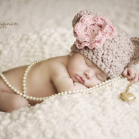 Baby Girl or Boy  Bear Beanie Hat   with Pink detachble  Flower Crochet Newborn Photo Prop Made to Order
