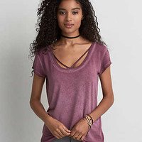 AEO Soft & Sexy Strappy Front T-Shirt , Pink