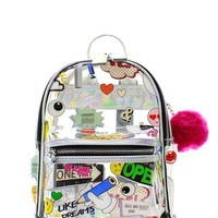 Emoticon Clear Backpack with PomPom
