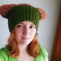 Orange green pussycat hat Knitted, funny hat, devil horny hat, gnome hat with ears, dreadlocks hat, women's march accessory, women power,