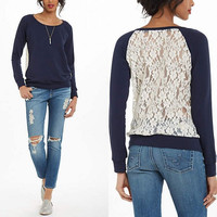 Blue Lace Back Sweater