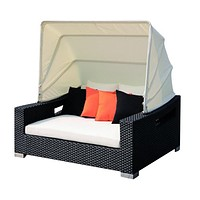 Sigma european style rattan furniture outdoor sunbed with sunshade