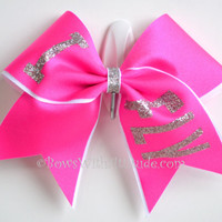 "3"" Wide Luxury Cheer Bow - I Fly on Hot Pink w/Silver"