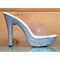 "Cocktail 501DM Rhinestone Platform 5"" Heel Clear Upper Slide Bridal Shoe 5-14"
