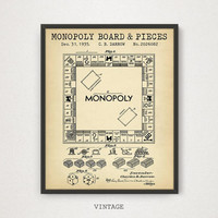 Monopoly Patent Art, Digital Download, Board Game Apparatus, Monopoly Poster Printable, Monopoly Gift, Vintage Blueprint Art Kids Room Decor