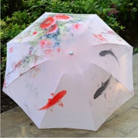 gold fish and peonies - the umbrella