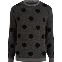 River Island MensDark grey polka dot sweater