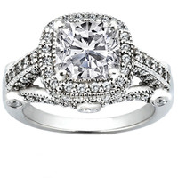 Engagement Ring - Cushion Diamond Legacy Style Engagement Ring 0.78 tcw. In 14K White Gold - ES994CU