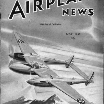 Model Airplane News 1939 poster Metal Sign Wall Art 8in x 12in Black and White