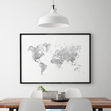 World map silver effect/ printable world map/ metal.lic effect world map/ Scandinavian decor/ minimalist/ minimal decor/ printable artwork