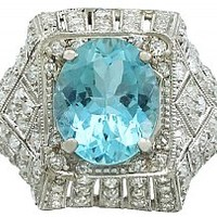 4.78 ct Aquamarine and 1.39 ct Diamond, Platinum Dress Ring - Antique Circa 1930