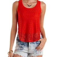 High-Low Lace Tank Top by Charlotte Russe