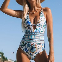 2020 new women's halterneck deep V printed triangle one-piece bikini