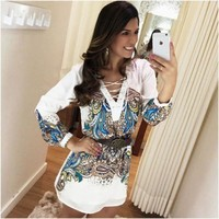 The Chest Bandage Number Printing White Dress European Easy A Word Long Fund Shirt