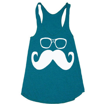 Womens Mustache and Glasses Tank Top