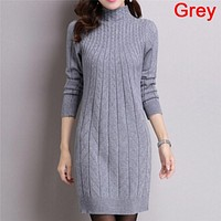 Spring Autumn Knitted Cotton Solid Skinny Stand Collar Women Sweater Dresses Elastic Sexy Winter Warm Vestidos Femme