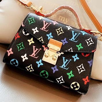 LV Fashion Monogram Print Leather Handbag Shoulder Bag Crossbody Bag Black