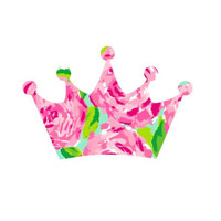 Crown Lilly Pulitzer  Decal, Lilly Inspired Decal Monogram, Lilly Pulitzer Decal, Lilly car decal, Lilly Pulitzer Yeti decal Custom Decal