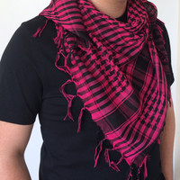 Checkered Square Summer Scarf, Men's Scarf, Back to School, Dark Pink Scarf, Designscope, Fast Deliver, Gift Ideas, Fashion Accessory