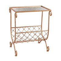 3138-227 Copper Side Table with Magazine Rack