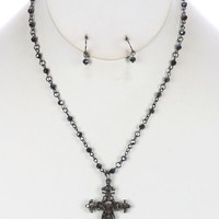 Hematite Aged Finish Metal Filigree Cross Pendant Necklace And Earring Set