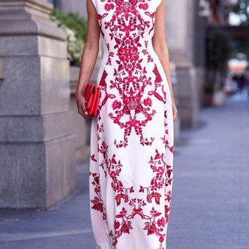 White and Red Paisley Print Cap Sleeve Maxi Dress