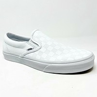 Vans Classic Slip On (Checkerboard) True White Mens Casual Shoes