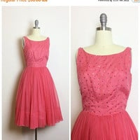 ON SALE 50s Hot Pink Sequin Beaded Party Dress / 1950s Vintage Scoop Back Full Skirt Prom Dress / Small