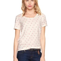 Printed raw-edge slub T