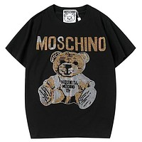 Moschino 2019 new loose hot drilling tide brand men and women round neck half sleeve t-shirt Black