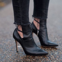 Maria Black Leather Booties