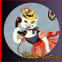 1 1/2 Fabric Cat Button - Hello Im Coming Home for Thankgiving and Christmas HOLIDAY