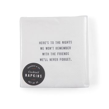 """""""Here's to the Nights"""" Cocktail Napkins"""