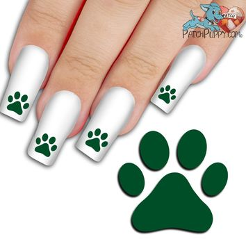 Green Team Spirit Paw Print - Nail Art Decals (Now! 50% more FREE)