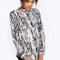 Ashley Sketchy Print High Neck Woven Blouse - Essentiels D'hiver - Collections
