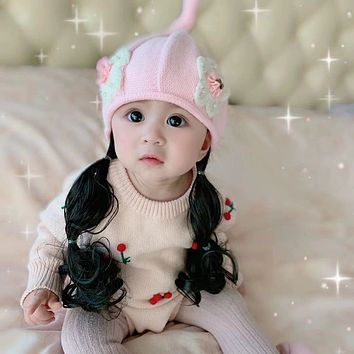 Infant Child Hat Season Spring Girl Baby Wig Cap Knitting Hat Princess Cotton Padded Cap 0-1-2-3 - Year - Old Han Edition