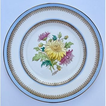 Light Blue Signed Hand Painted Chrysanthemums Botanical Transferware Plate English Cottage
