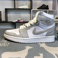 Air Jordan 1 AJ1 Retro Leather Platinum Starry Men's Basketball Shoes