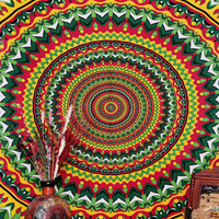 Psychedelic Pot Leaf Wall Tapestry, Bohemian Wall Hanging, New Age Dorm Bedding, Psy Mandala, Multi Mandala Tapestry, Indian Tapestry, Decor