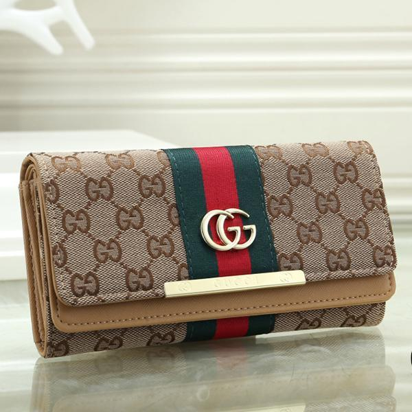 Image of GG Women Fashion Leather Buckle Purse Wallet