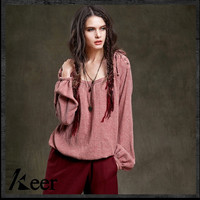 Women pullovers 2017 female autumn winter boho hippie long sleeve o neck solid blouse Mexico ethnic bohemian shirt SA15051Q